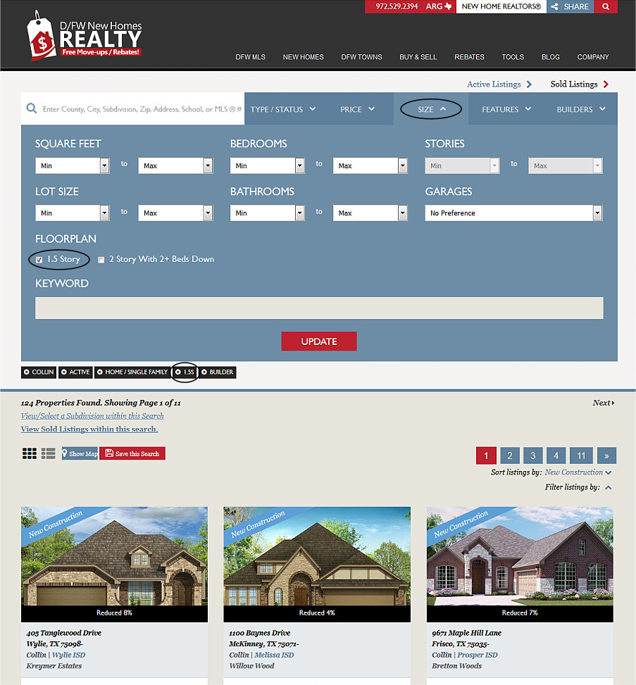 1.5 Story Home Finder, One and a Half Story Home Find for Dallas Fort Worth