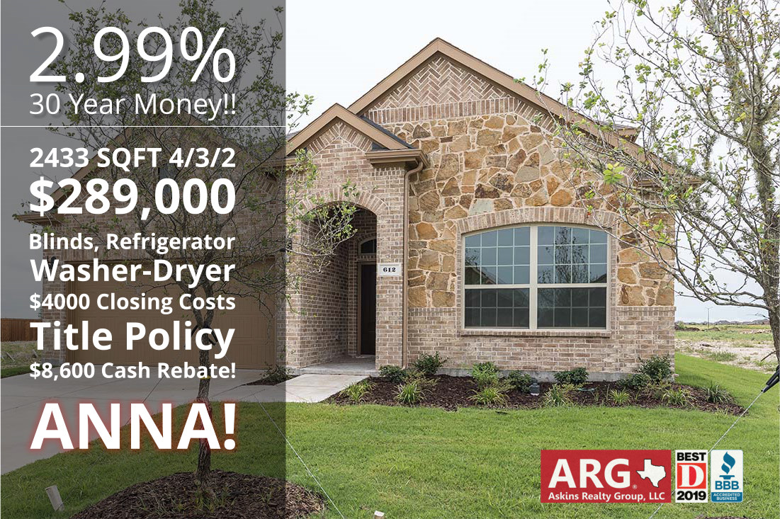 Great BUY in Anna TX! Big Rebate and Long List of Builder Incentives!