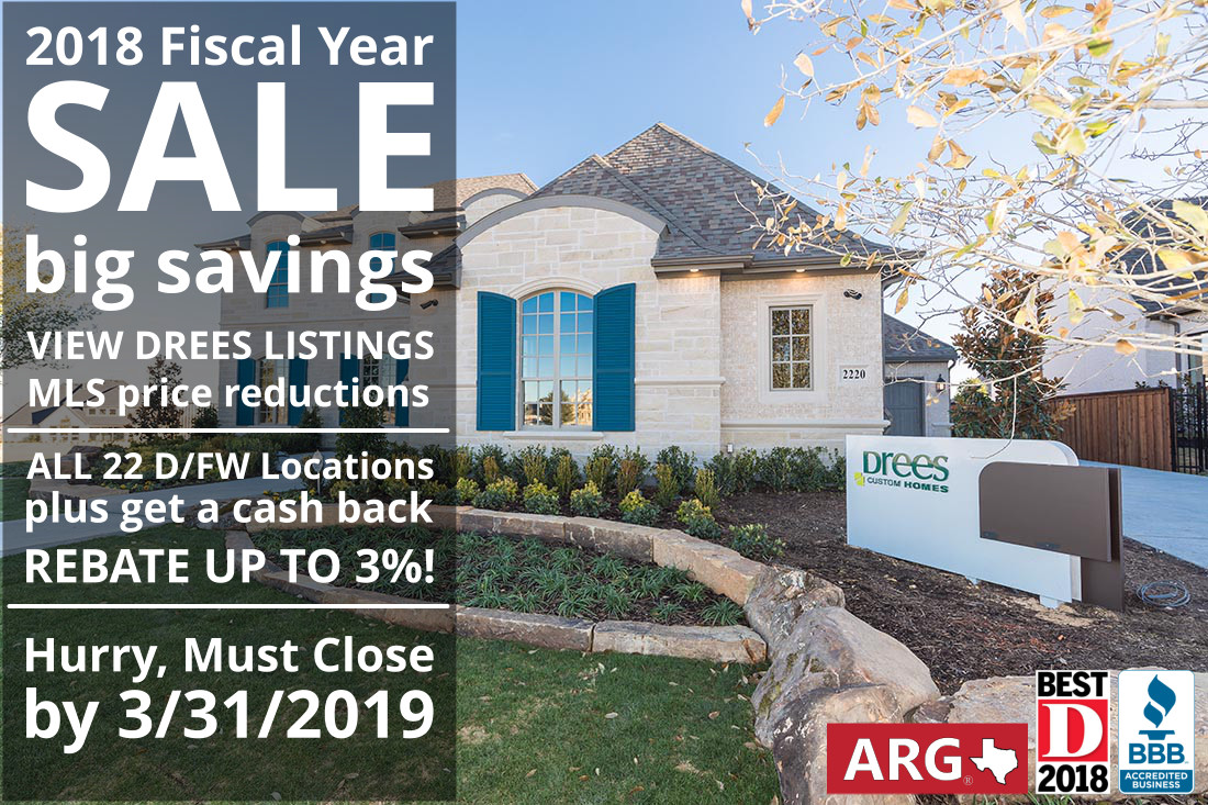 Drees Homes 2018 Fiscal Year-end Sale is NOW! Find all Drees Homes, Find Price Reductions, and Get a Buyer Cash Rebate!