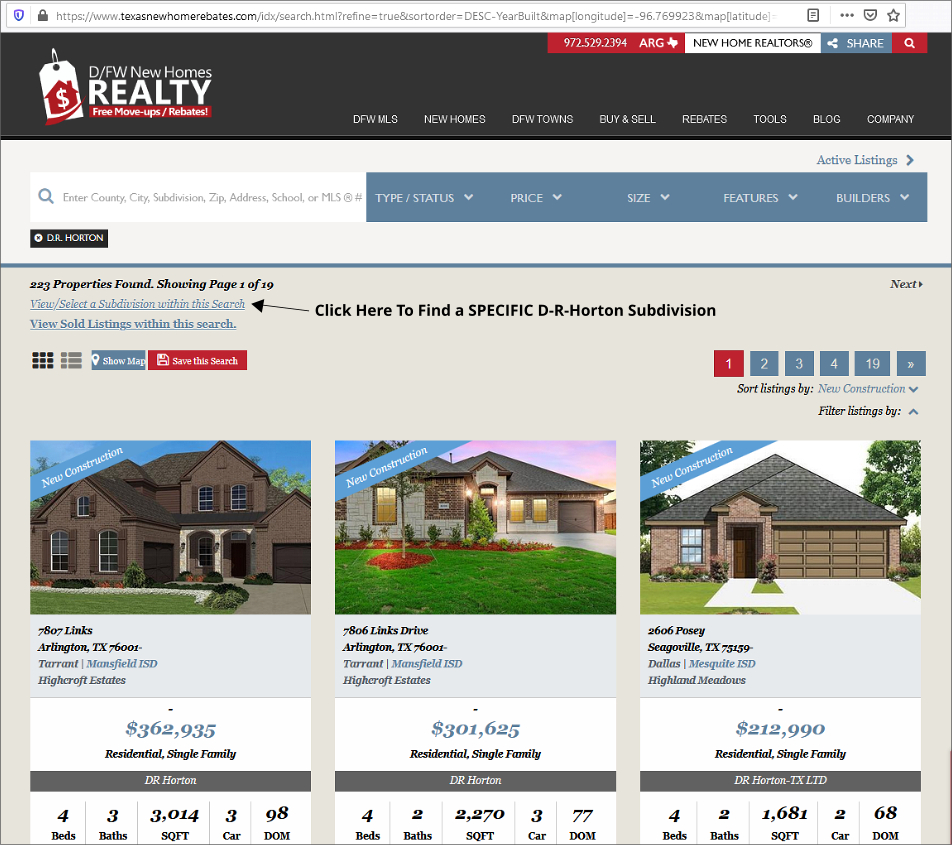 One CLICK to Find ANY D-R-Horton DFW Subdivision with New Homes for Sale