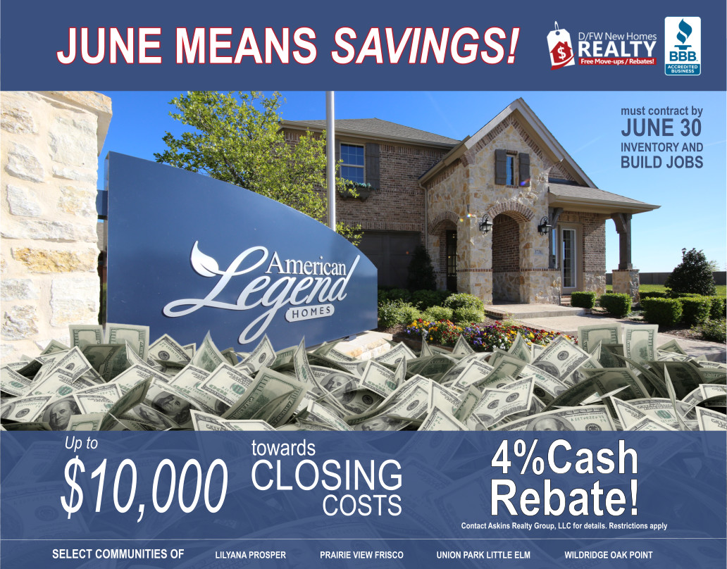 American Legend Promotion is Community Specific, Paying $10K in Closing Costs, Then ADD an ARG 4% Cash Rebate for Ultimate SAVINGS!
