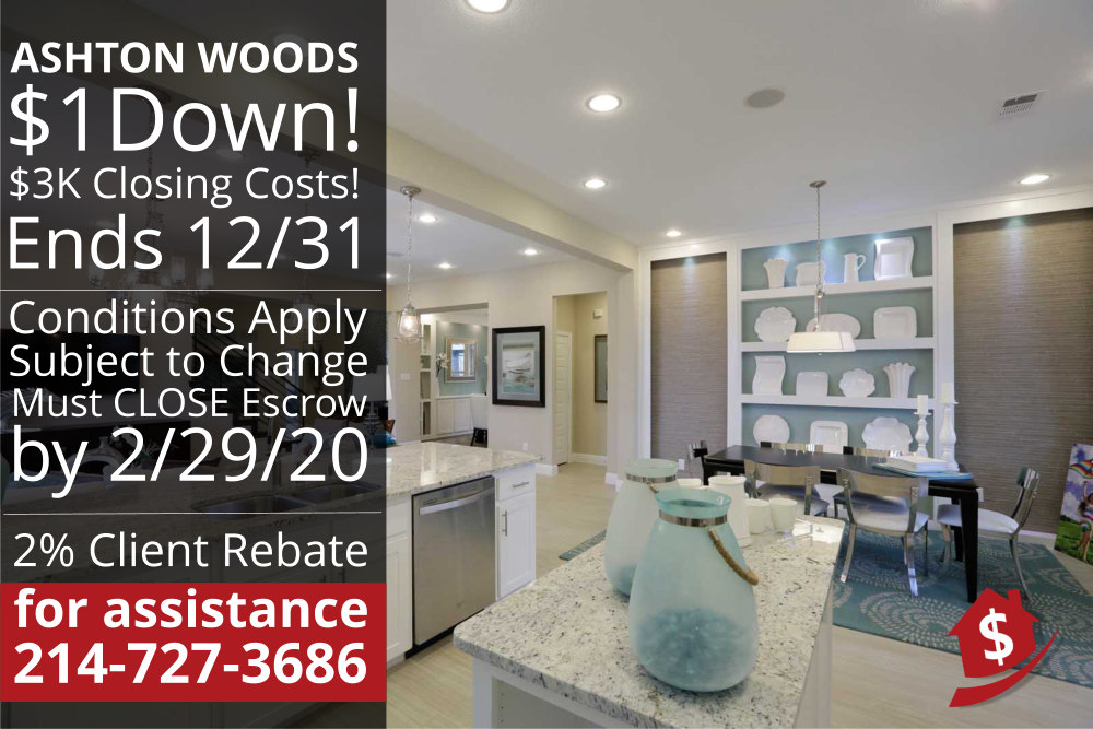 Last Chance to Buy an Ashton Woods Quick Move-in with $1 down!