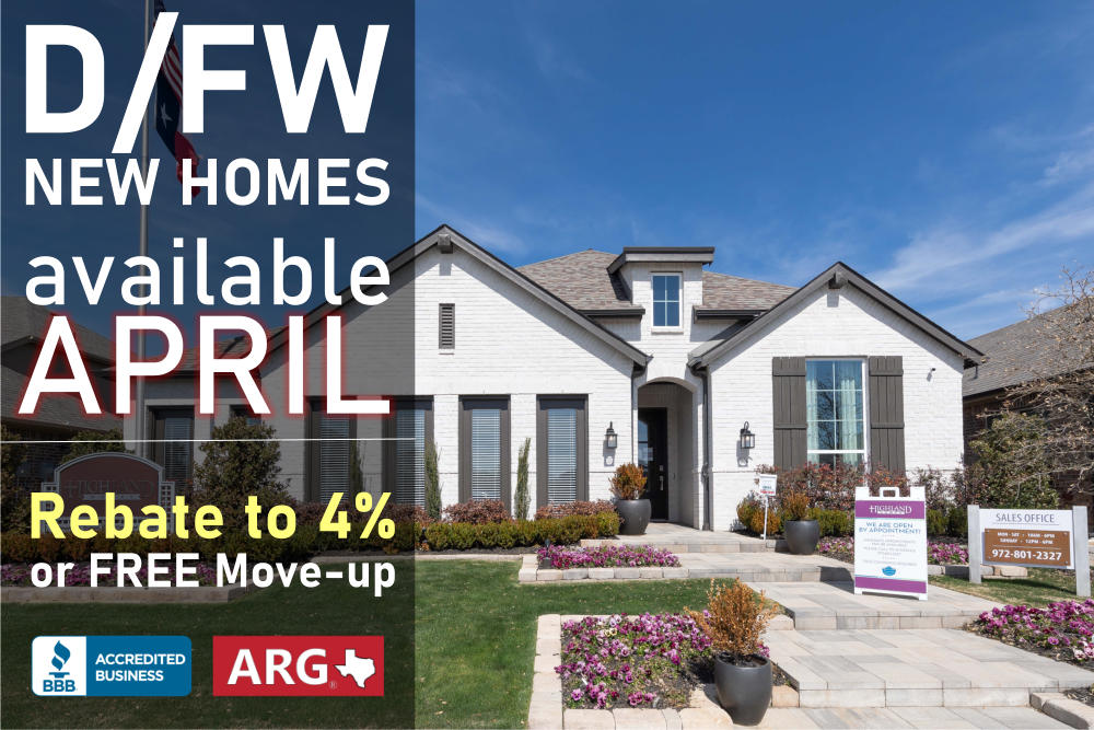 Find New Homes For Sale in DFW CLOSING in April 2021