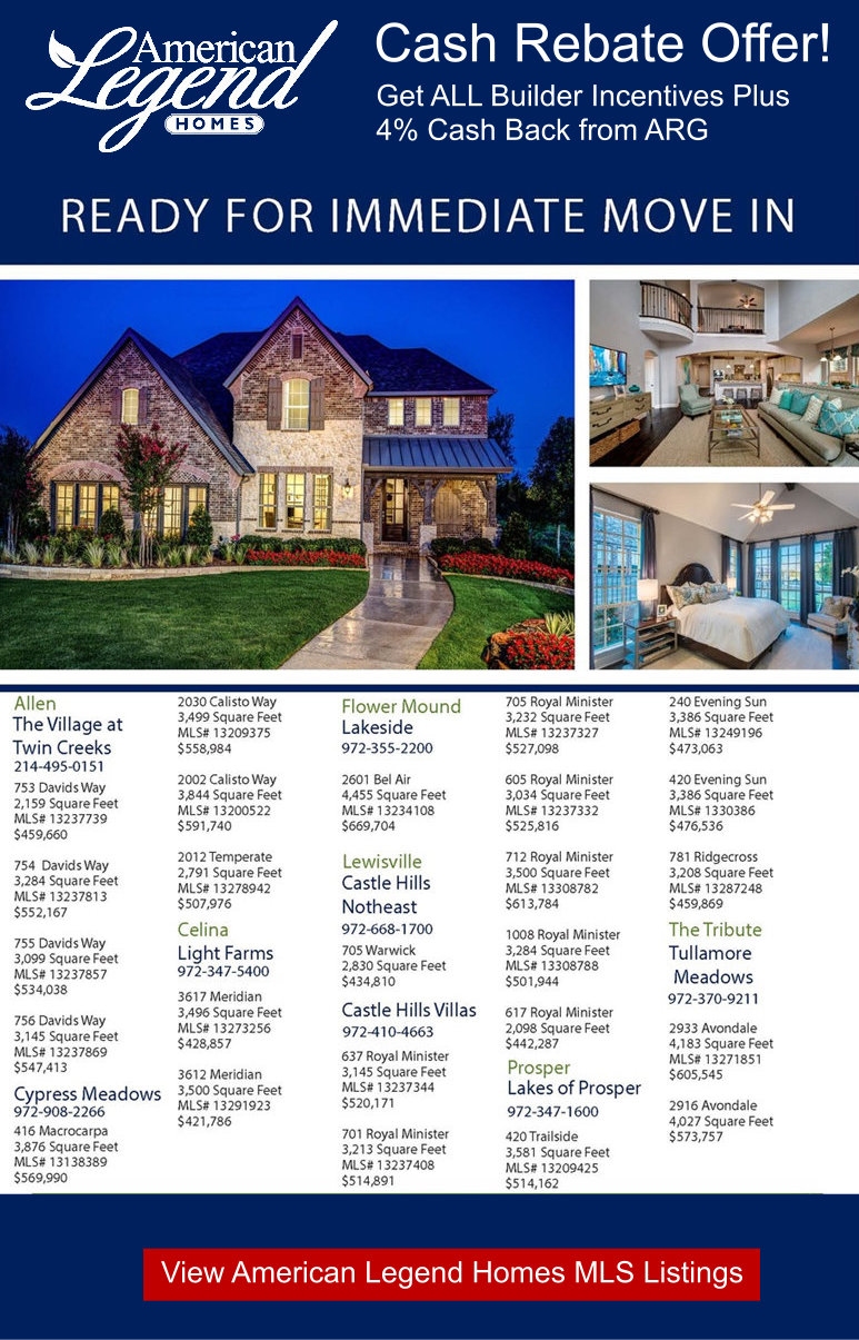 American Legend Homes February INVENTORY SPEC HOMES for Sale