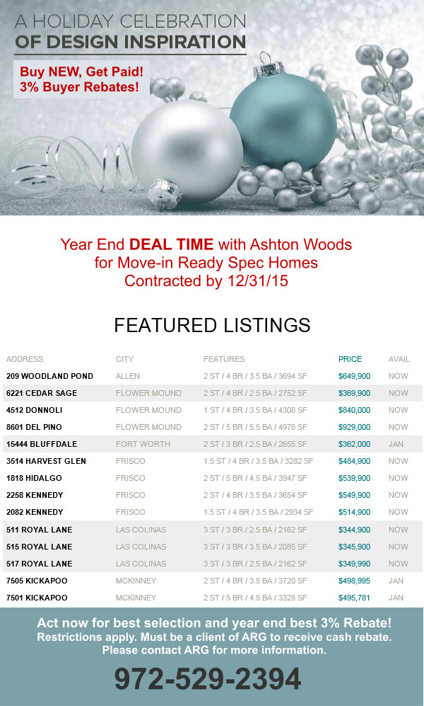 Ashton Woods Dallas Fort Worth Yearend New Home Sale Event! 3% Cash Back on top of the best deals of the year!
