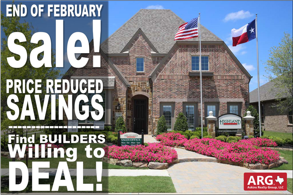 End of February New Home Deals in Dallas Fort Worth are READY! Find Largest Price Discounts!