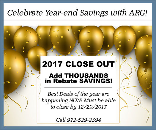 Dallas Fort Worth New Home Close-out SALE! Save Thousands, Plus THOUSANDS More with an ARG Cash Rebate!