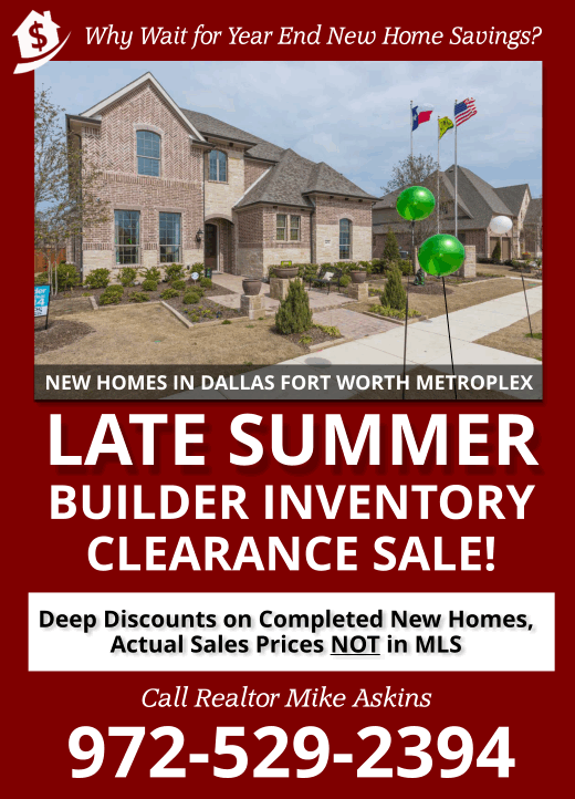 Late Summer 2017 New Home Clearance Sale in Dallas Fort Worth