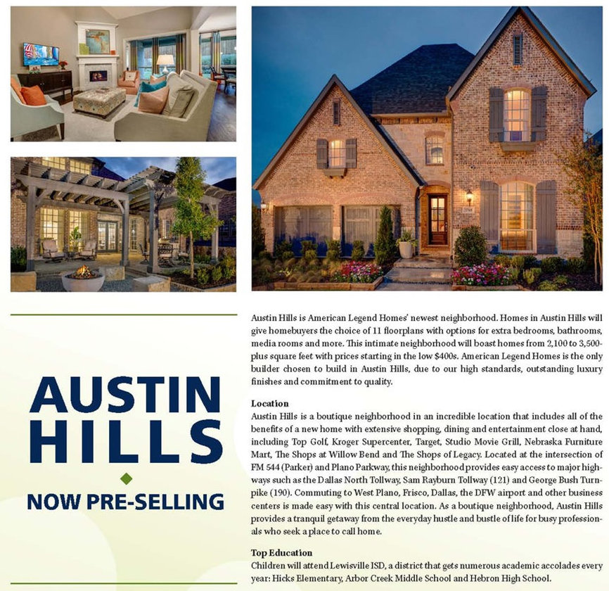 American Legend Homes is Now Pre-selling Austin Hills in Carrollton