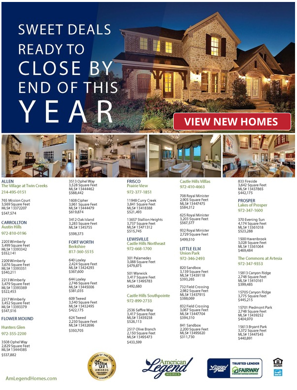 Year-end SAVINGS with American Legend Homes is NOW