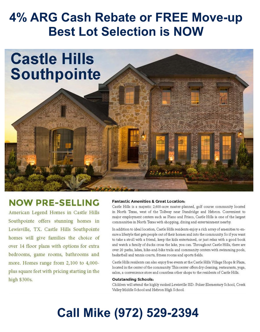 American Legend Announces they are Pre-selling Southpointe at Castle Hills